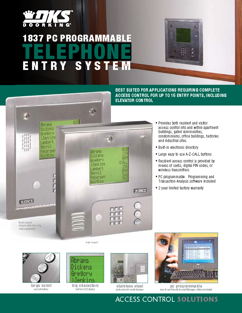 1837 Rev 9-12_Page_1 ...  sc 1 st  Southeast Access Technologies & DoorKing 1837 PC Programmable Telephone Entry System \u2013 Southeast ...